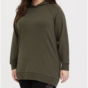 Torrid FLEECE SNAP-BUTTON HEM TUNIC HOODIE